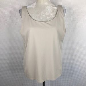 Eileen Fisher 100% Silk Tank Top Ivory Cream Large